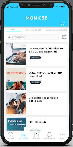 Mock up de l'application mobile pour CSE développée par Comitéo. Présent les acualités qu'un élu de CSE peut mettre en avant via son espace de gestion.