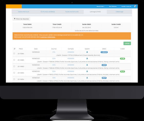 L'outil de gestion et de comtpabilité pour CSE de la solution Comitéo. Il s'agit d'un mock up présentant une interface avec des chiffres et un tableau de comptabilité.