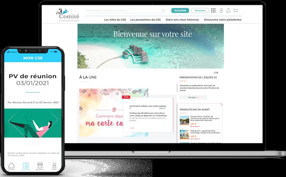 Aperçu de la plateforme pour CSE de Comitéo avec un mock up de l'application mobile et du site cse présentant les modules et outils.